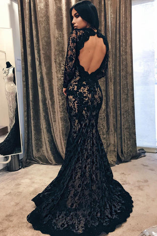 Black Mermaid Jewel Long Sleeve Lace Open Back Evening Dress,Long Prom Gown,N614