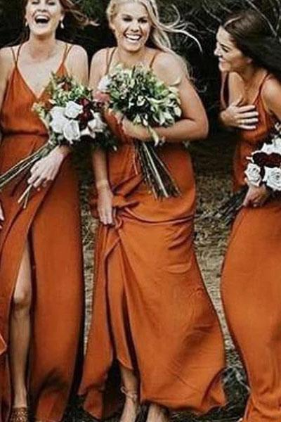 Spaghetti Strap V Neck Split Long Bridesmaid Dress, Orange Cheap Bridesmaid Dresses N2367