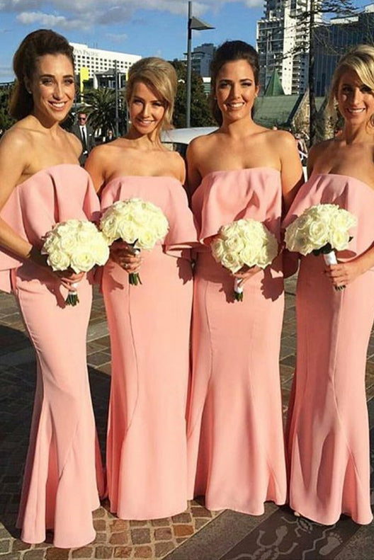 Bohemian Strapless Floor-length Beach Wedding Bridesmaid Dress,Cheap Party Gown,N714