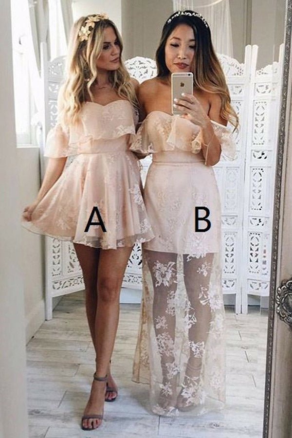 Cheap Off Shoulder Pearl Pink Lace Homecoming Dress,Sexy Lace Sweet 16 Dress