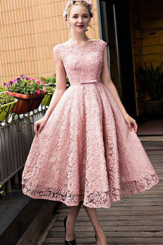 Tea Length Pink Cap Sleeves Party Dress with Bowknot, A Line Homecoming Dress N772