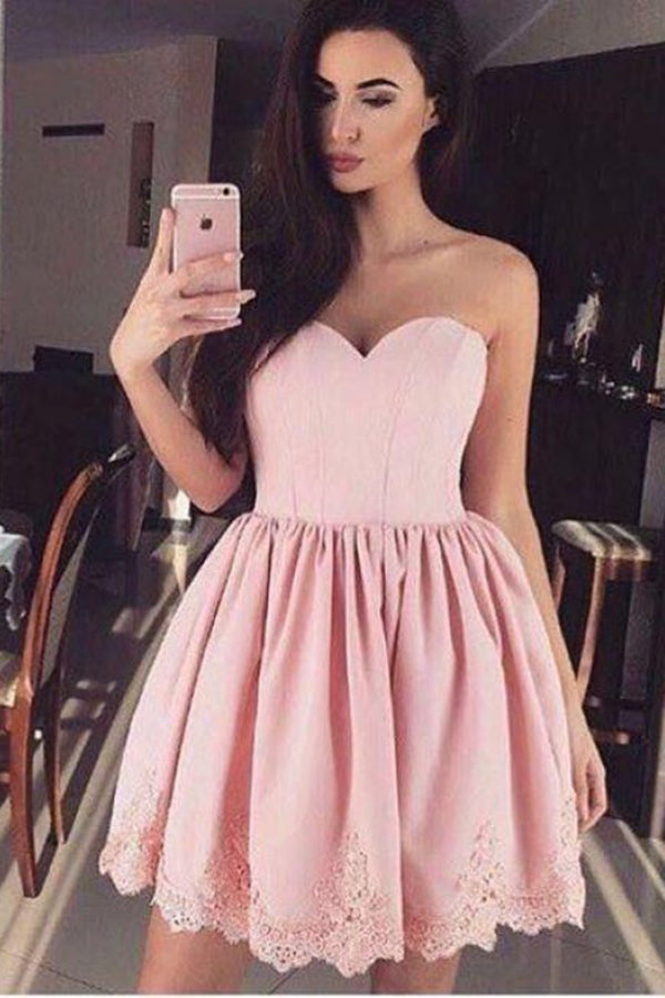 Pink Sweetheart Lace Appliques Short Graduation Dress, New Strapless Homecoming Dress N889
