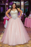 Pink Sweetheart Ball Gown Sleeveless Floor-length Tulle Formal Dress with Rhinestone,N540