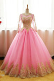 Ball Gown Pink Tulle Prom Dress with Gold Appliques, Long Sleeves Quinceanera Dress
