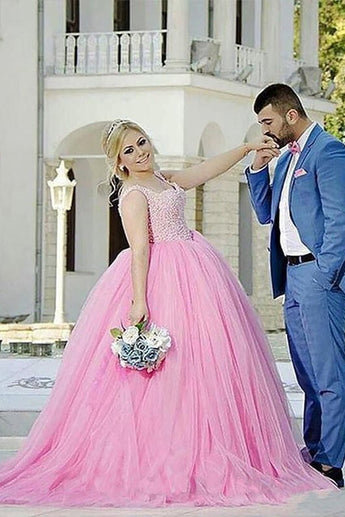 Princess Pink Ball Gown Sweetheart Beading Tulle Plus Size Sweep Train Prom Dresses,N542
