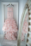 Gorgeous Sweetheart Ruffles Pleats Mermaid Wedding Dresses with Beading,N546