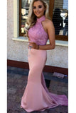 Pink High Neck Mermaid Sleeveless Prom Dress with Lilac Lace, Applique Bridesmaid Dress N810