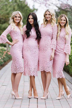 Knee Length Pink Lace Sheath Bridesmaid Dress with Sleeves, Lace Prom Dress