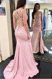 Sexy Mermaid Pink Prom Dress with Split, Criss-Cross Back Long Evening Dress