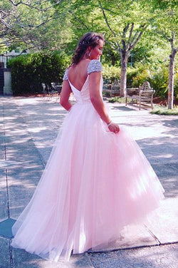 Pink Prom Dresses with Cap Sleeves, A Line Long Prom Dresses with Rhinestones N1363