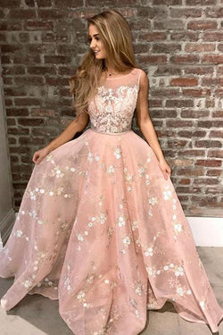Pink Sleeveless Lace Prom Dress with Appliques, Puffy Long Graduation Dresses N1743
