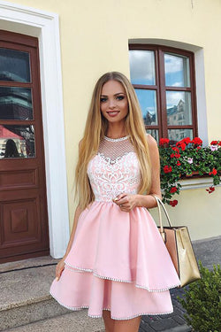 Cute Pink A Line Round Neck Lace Appliqued Satin Short Homecoming Dresses