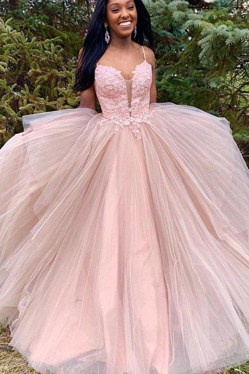 Spaghetti Straps Tulle Long Prom Dress with Lace Appliques, New Pink Long Party Dress N2466
