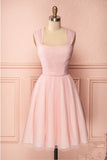 Pink Vintage Straps Tulle Knee Length Homecoming Dress, Straps Graduation Dresses