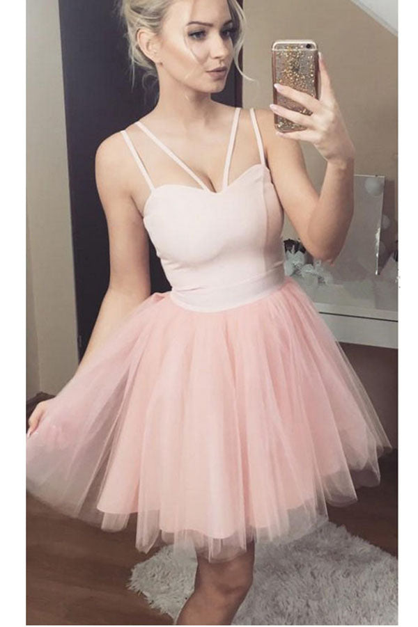 A Line Sexy Straps Tulle Pink Homecoming Dress, Cute Short Tulle Prom Dress