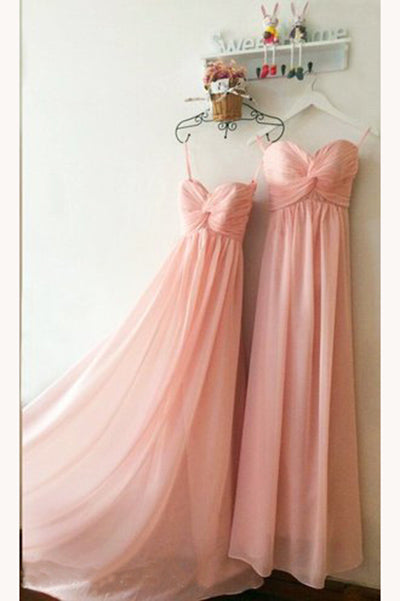 Peach Sweetheart Long Chiffon Bridesmaid Dress, Floor Length Pleats Bridesmaid Dress N1126