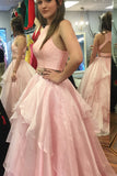 A-line Two Piece Peach Pink Jewel Sleeveless Open Back Floor-length Prom Dress,N579