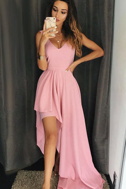 A Line V Neck High Low Pink Simple Long Prom Dresses, Unique Chiffon Formal Dress N1691