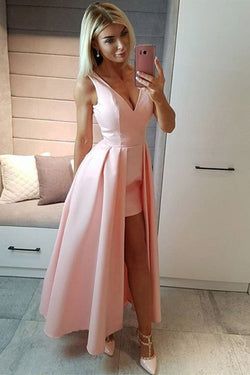 Unique Pink High Low V Neck Prom Dress, Cheap Simple Sleeveless Long Formal Dresses N1684