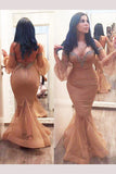 Plus Size Mermaid Floor-length Long Sleeves Off-the-shoulder Tulle Backless Prom Dress,N493