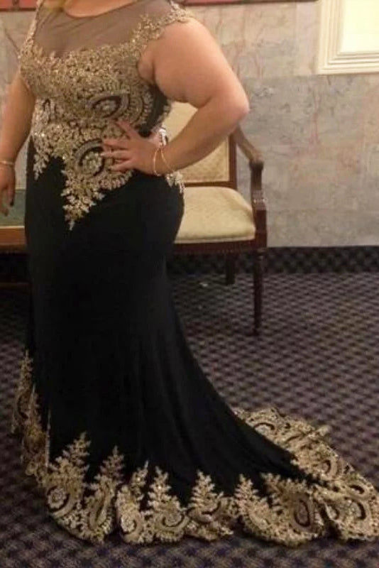 Black Mermaid Sleeveless Plus Size Prom Dress with Lace Appliques, Plus  Size Dress N2217