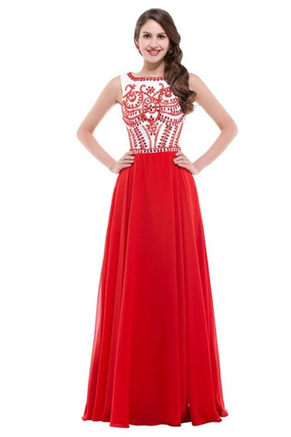 A-line Long Red Beaded Chiffon Prom Dresses SM3