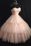 Princess Sweetheart Tulle Tea Length Homecoming Dress, Puffy Strapless Short Prom Dress