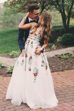 A Line V Neck Ivory Lace Prom Dresses with Embroidery, Printed Evening Dresses N1210
