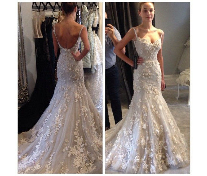 Tulle Wedding Dress With Appliques,Straps Bridal Dress,Sleeveless Mermaid Wedding Dress,N109