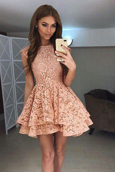 A-Line Round Neck Lace Mini Prom Dress,Cute Lace Short Homecoming Dress,N756