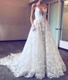 Spaghetti Straps Deep V-neck Sweep Train Lace Beach Wedding Dress with Pockets,N500
