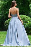 Light Blue Strapless Long Prom Dress with Appliques, A Line Cheap Formal Dress with Beads N1665