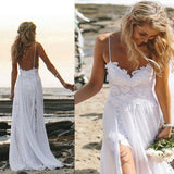 Spaghetti Straps White Lace Chiffon Backless Beach Wedding Gowns,S12