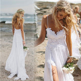 Spaghetti Straps White Lace Chiffon Backless Beach Wedding Gowns