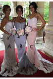 Charming Cheap Mermaid Spaghetti Straps Long Bridesmaid Dress with Lace,N608