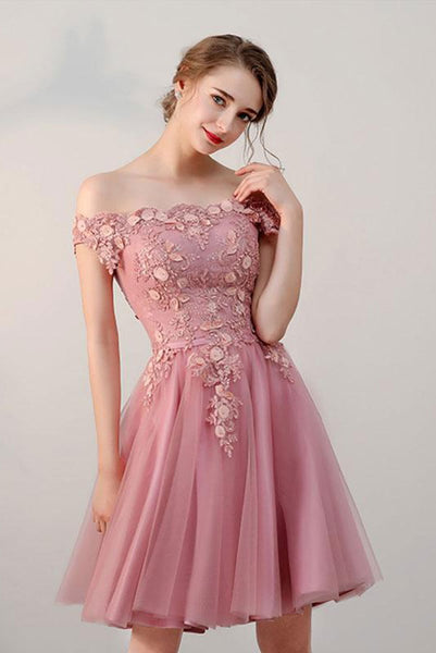 Pink Off the Shoulder Short Tulle Prom Dress, Cute Homecoming Dress with Appliques N1681