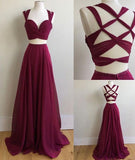 Sexy Two Pieces Sleeveless Sweetheart Band Chiffon Criss-Cross Straps Prom Dresses,N591