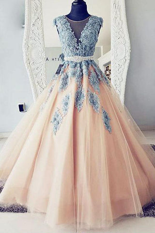 8b5bfccc9a Puffy Round Neck Teal Blue Lace and Peach Tulle Long Prom Dresses N1430