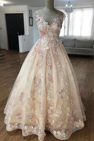 Champagne Puffy Sheer Neck Floor Length Party Dress with Appliques, Long Prom Dress with Flower N1293