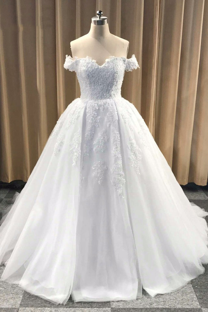 Puffy Off Shoulder Tulle Wedding Dress, Cheap Appliqued Bridal Dress with Train