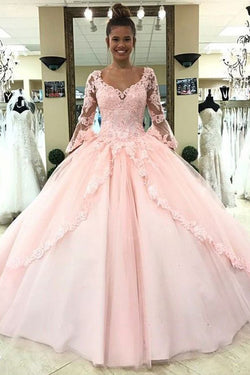 Puffy Long Sleeve Prom Dress with Lace, Pink Tulle Long Quinceanera Dresses N1362