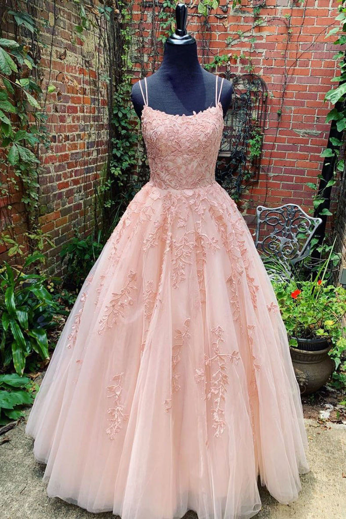 Spaghetti Straps Floor Length Tulle Prom Dress With Lace Appliques N2451