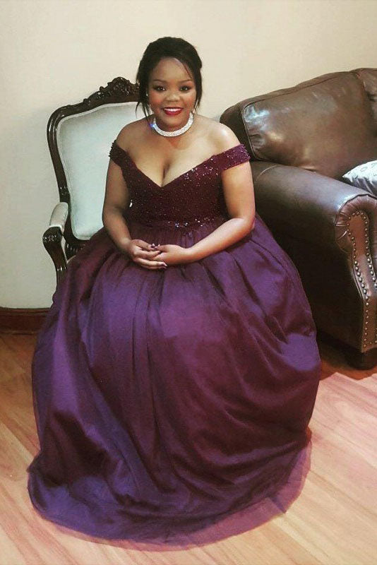 Purple Plus Size Off the Shoulder Tulle Plus Size Prom Dress with Beading N2229