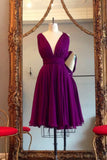 A Line V Neck Purple Sleeveless Chiffon Bridesmaid Dress, Knee Length Homecoming Dresses N838