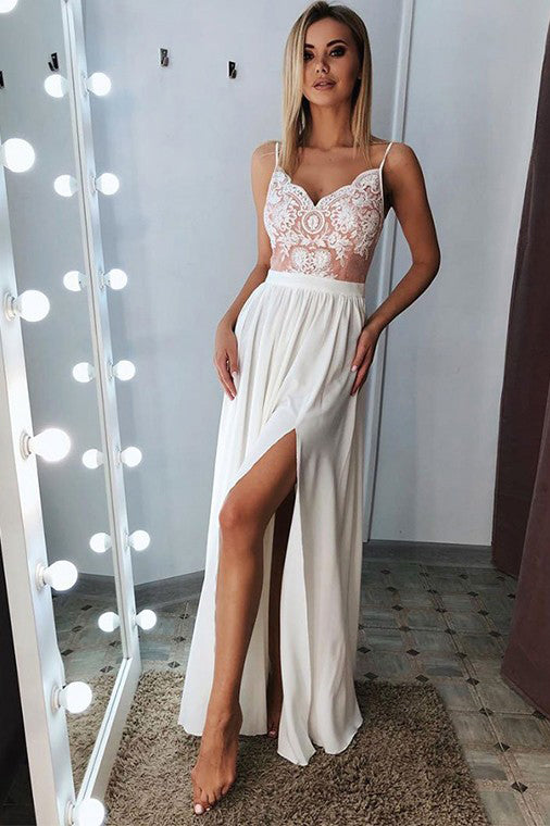 Classic A Line Spaghetti Straps Split Prom Dresses Long with Lace Appliques N2480
