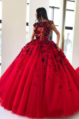 96b358892e Red Ball Gown Prom Dress with Appliques