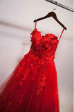 Sexy Red Sweetheart Strapless Ball Gown Applique Tulle Long Prom Dress,Party Dresses,N533