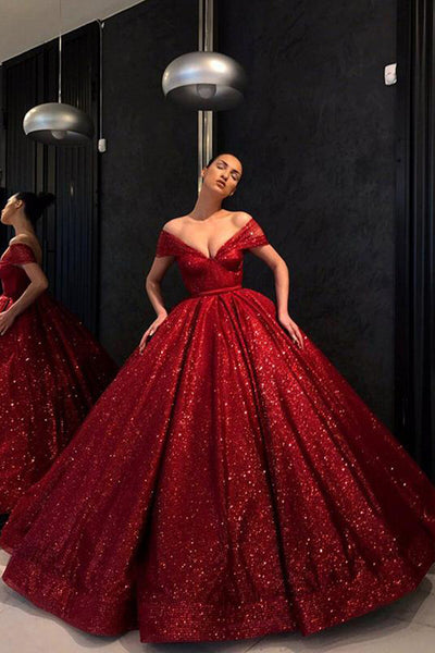 139c21da37 Chic Ball Gown Prom Dress Vintage Cheap Off The Shoulder Red Sequins Prom  Dress