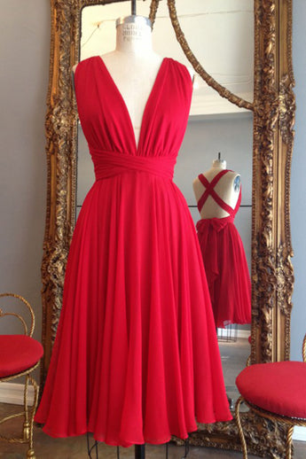 Red Knee Length Deep V Neck Sleeveless Chiffon Prom Dress, Homecoming Dress