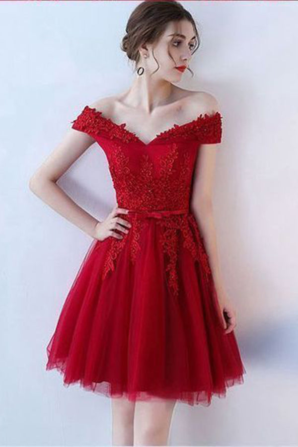Red Off Shoulder Tulle Short Homecoming Dresses, Appliqued Simple Party Dresses